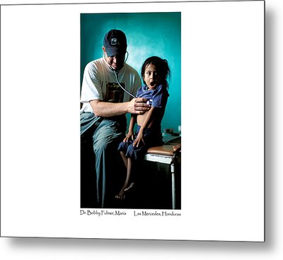 Metal Print featuring the photograph Doctor Examines Honduran Girl by Tina Manley