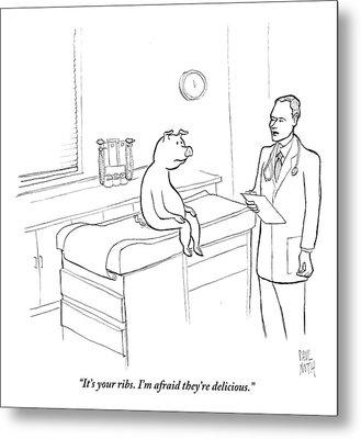 Doctor To Pig Metal Print by Paul Noth