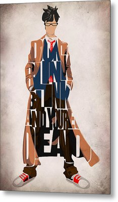 Doctor Who Inspired Tenth Doctor's Typographic Artwork Metal Print by Ayse Deniz