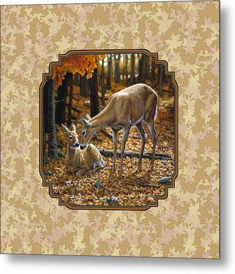 Doe And Fawn Autumn Leaves Pillow And Duvet Cover Metal Print