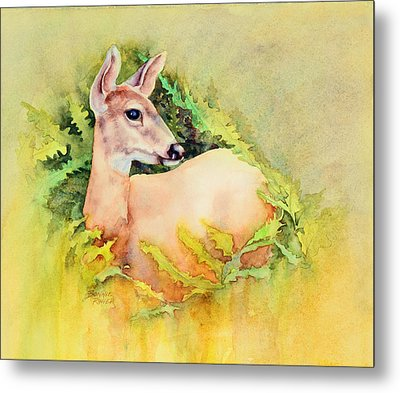 Metal Print featuring the painting Doe In Ferns by Bonnie Rinier