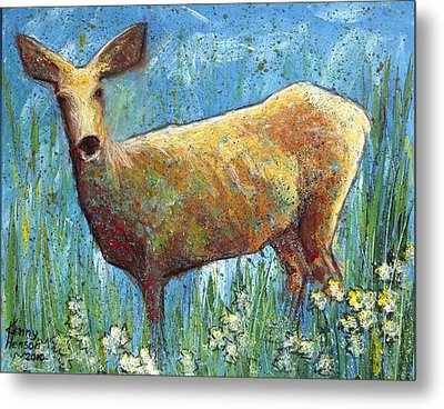 Metal Print featuring the mixed media Doe by Kenny Henson