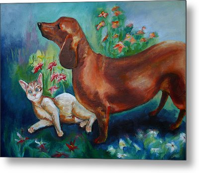 Dog And Cat In The Garden Metal Print