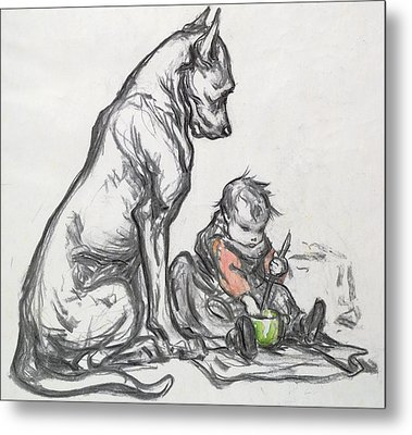 Dog And Child Metal Print by Robert Noir