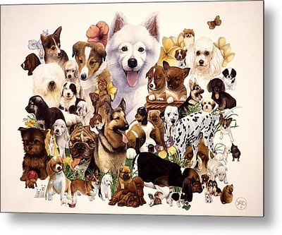 Dog And Puppies Metal Print by John YATO