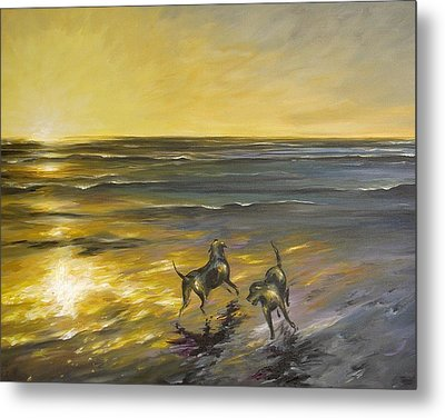 Metal Print featuring the painting Dog Beach by Dina Dargo