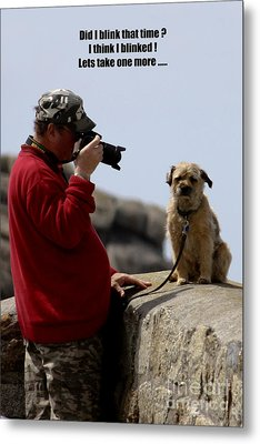 Dog Being Photographed Metal Print by Terri Waters
