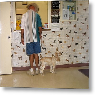 Dog Owner Dog Vet's Office Casa Grande Arizona 2004 Metal Print by David Lee Guss