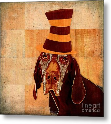 Dog Personalities 11 Cat In The Hat Metal Print