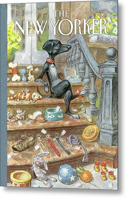 Dog Sitting On The Porch Of A Brownstone Selling Metal Print by Peter de Seve