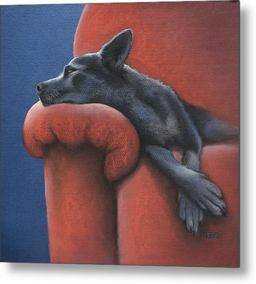 Metal Print featuring the drawing Dog Tired by Cynthia House