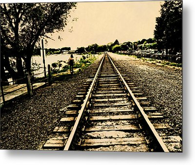 Dog Walk Along The Wayzata Train Tracks Metal Print by Susan Stone