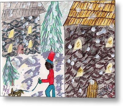 Dog Walk In The Snow Metal Print by Elinor Rakowski