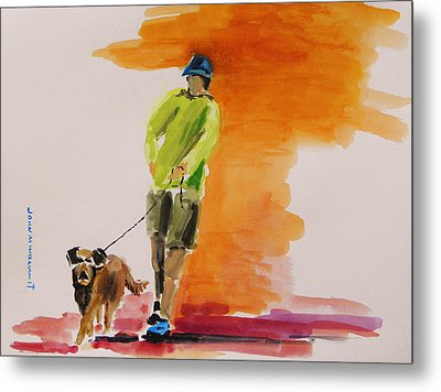 Dog Walker Metal Print by John Williams