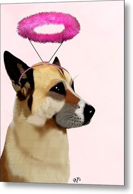 Dog With Pink Halo Metal Print by Kelly McLaughlan