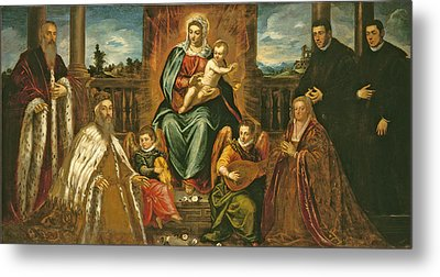 Doge Alvise Mocenigo And Family Before The Madonna And Child Metal Print