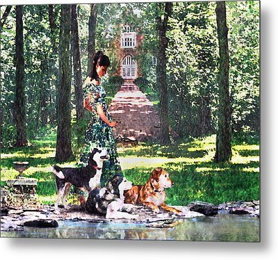 Dogs Lay At Her Feet Metal Print