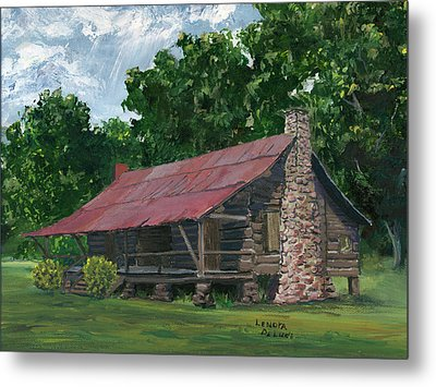Metal Print featuring the painting Dogtrot House In Louisiana by Lenora  De Lude