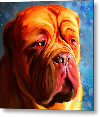 Vibrant Dogue De Bordeaux Painting On Blue Metal Print by Michelle Wrighton