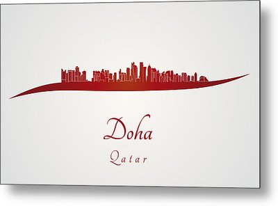 Doha Skyline In Red Metal Print by Pablo Romero
