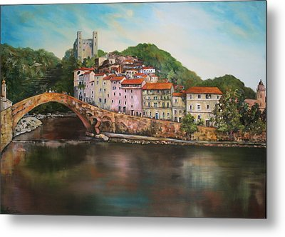 Metal Print featuring the painting Dolceacqua Italy by Jean Walker