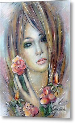 Metal Print featuring the painting Doll With Roses 010111 by Selena Boron