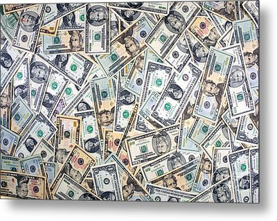 Dollar Background Metal Print by Olivier Le Queinec