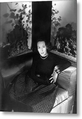 Dolores Del Rio Sitting In An Armchair Metal Print by Horst P. Horst