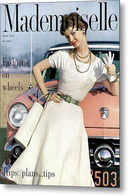 Dolores Hawkins In Front Of A Ford Crestline Metal Print by Herman Landshoff