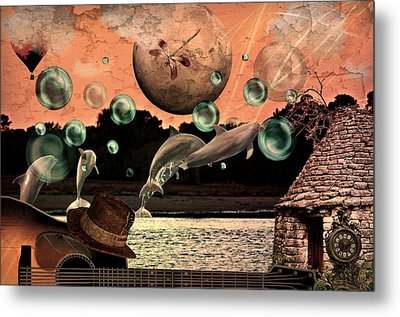 Metal Print featuring the mixed media Dolphin Dreams by Ally  White