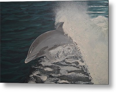 Dolphin In The Wake Metal Print