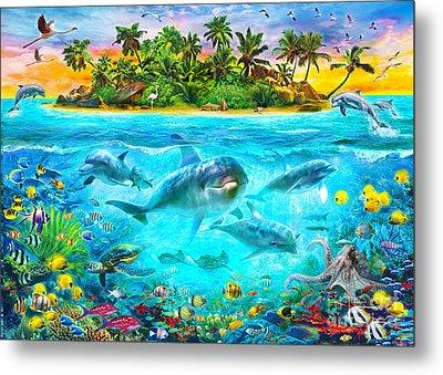 Dolphin Paradise Island Metal Print by Jan Patrik Krasny