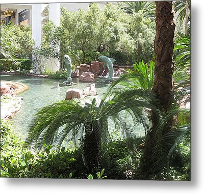 Metal Print featuring the photograph Dolphin Pond And Garden Green by Navin Joshi
