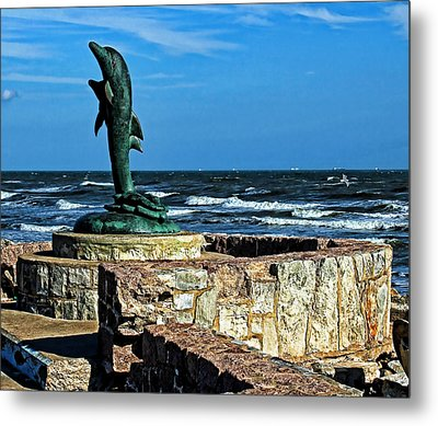 Dolphin Statue Metal Print