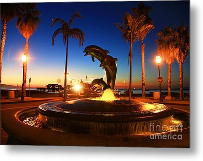 Dolphins At Dawn Metal Print by Dave Donaldson