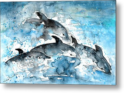 Dolphins In Gran Canaria Metal Print by Miki De Goodaboom