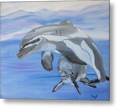 Sublime Dolphins Metal Print by Meryl Goudey