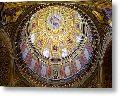 Dome Interior Of The St Stephen Basilica In Budapest Metal Print by Artur Bogacki