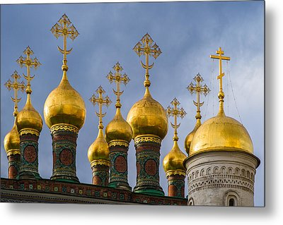Domes Of The Church Of The Nativity Of Moscow Kremlin - Featured 3 Metal Print by Alexander Senin
