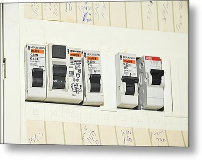 Domestic Fuse Box Metal Print by Photostock-israel