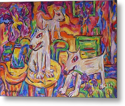 Domesticated Wolves In Dutch Iris Room Metal Print by Dianne  Connolly