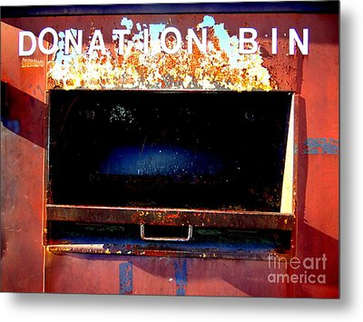 Donation Bin Metal Print by Ed Weidman