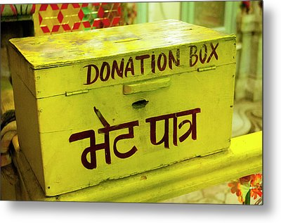 Donation Box, Shree Laxmi Narihan Ji Metal Print by Inger Hogstrom
