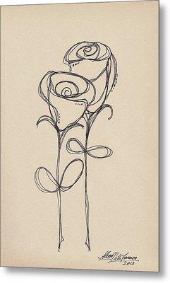 Doodle Roses Metal Print