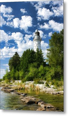Cana Island Lighthouse Cloudscape In Door County Metal Print by Christopher Arndt