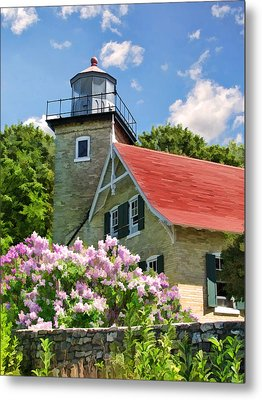 Door County Eagle Bluff Lighthouse Lilacs Metal Print