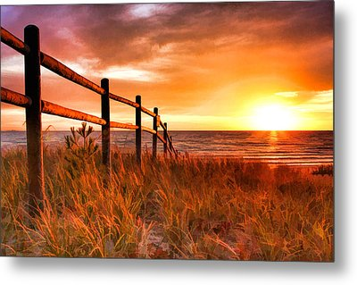 Door County Europe Bay Fence Sunrise Metal Print by Christopher Arndt