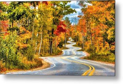 Door County Road To Northport In Autumn Metal Print by Christopher Arndt