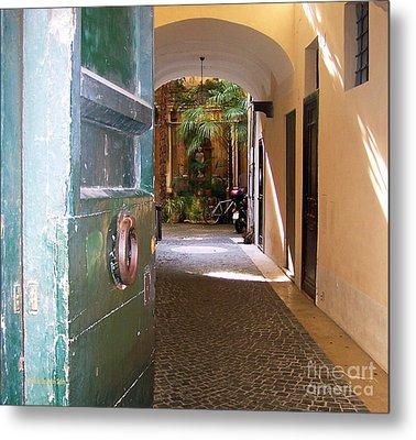 Door In Florence Metal Print by Debby Pueschel