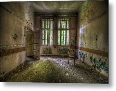 Door On To Chair Metal Print by Nathan Wright